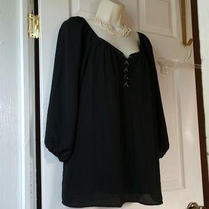 Cato Black Sheer Lined Scoop Neckline Tunic Sz.L